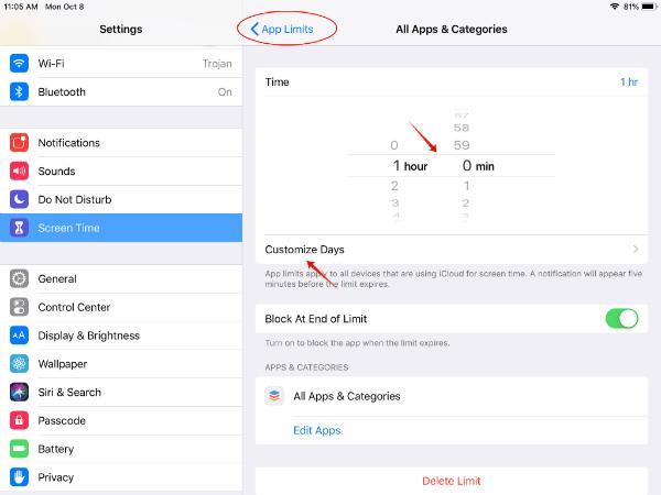 iPad Set app limit