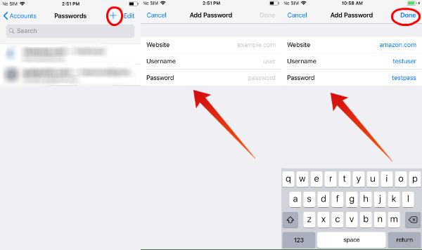 iPhone add autofill password