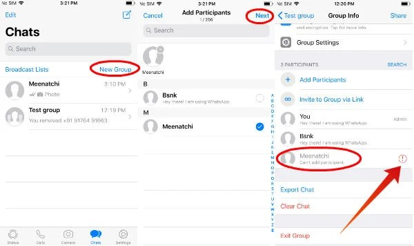 iphone add blocked contact to whatsapp group