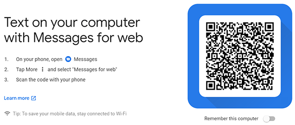 Android Messages Web QR Code