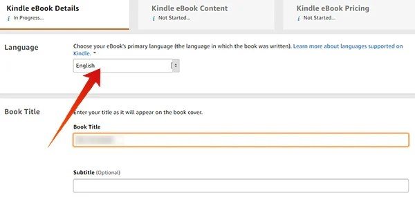 Select language, book title in Amazon KDP to publish an eBook on Amazon Kindle