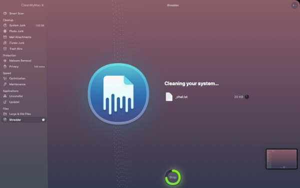 Shredding in CleanMyMac X