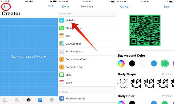 iphone create qr code