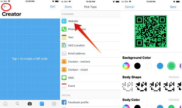 iphone create qr code