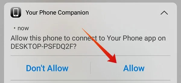 Your Phone Companion Notification