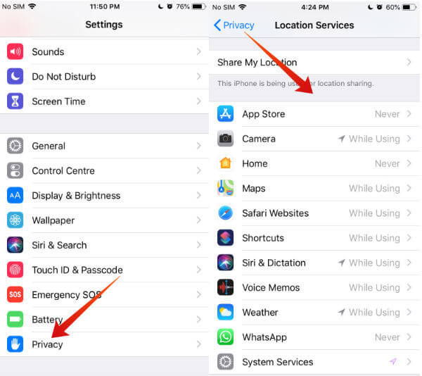 iphone location services