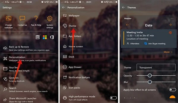 Images to customize theme in Microsoft Launcher on Android
