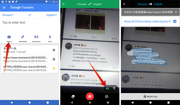 Real-time translate images using Google Translate on Android