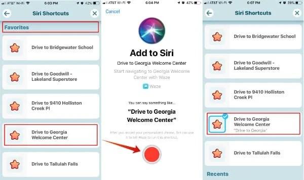 Siri Shortcuts for Waze Favorites