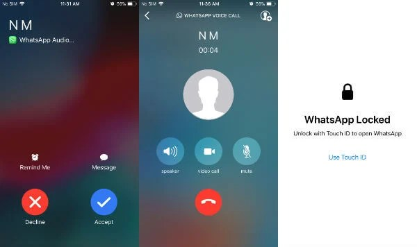 iPhone answer whatsapp calls when locked