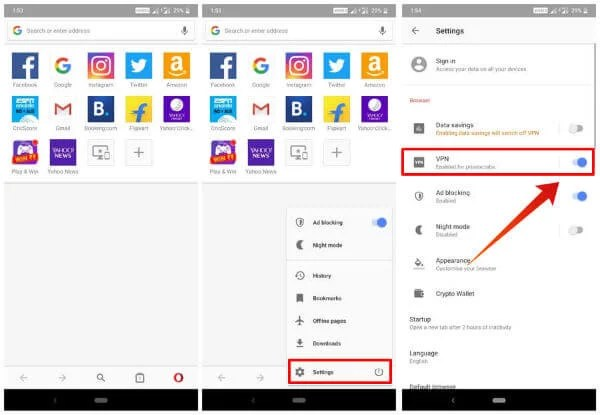 Enable Opera VPN Android