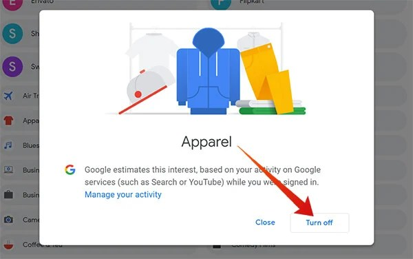 Remove ad interests from Google