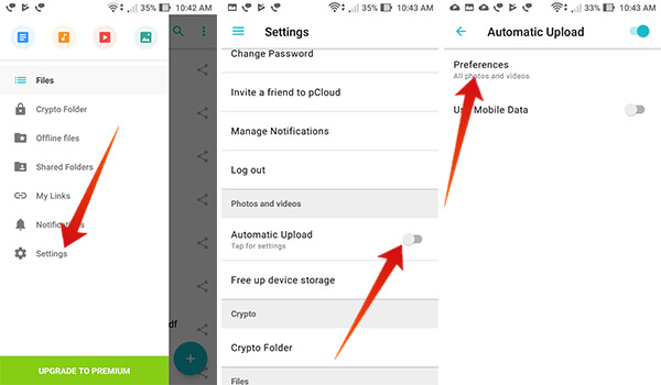 Turn on Automatic Upload for Images in pCloud on Android