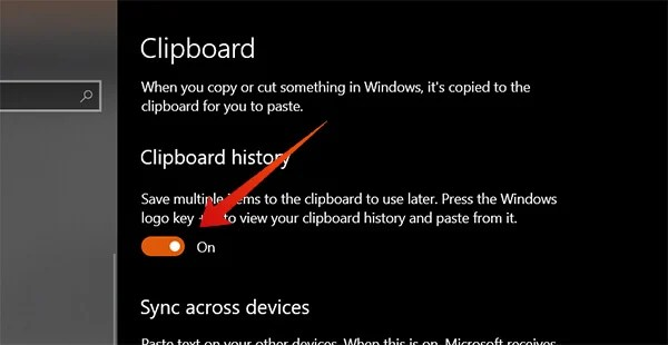 Tutorial to turn on Clipboard History on Windows 10 October Update