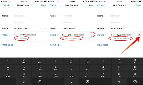 WhatsApp Contact Check Results