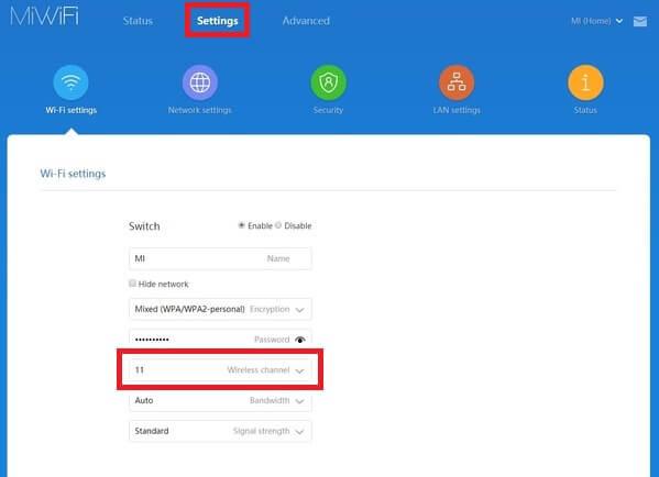 Change WiFi Channel on Mi routers