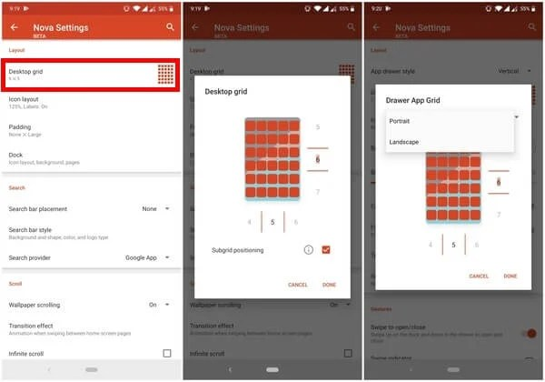 change grid size on nova launcher