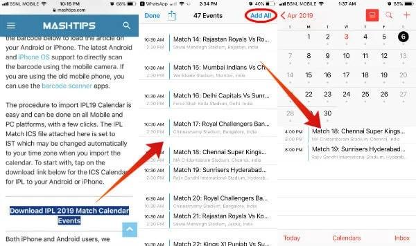 Add IPL2019 Match Calendar iPhone