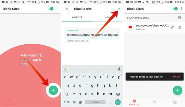Block Youtube Channel on Android using BlockSite App