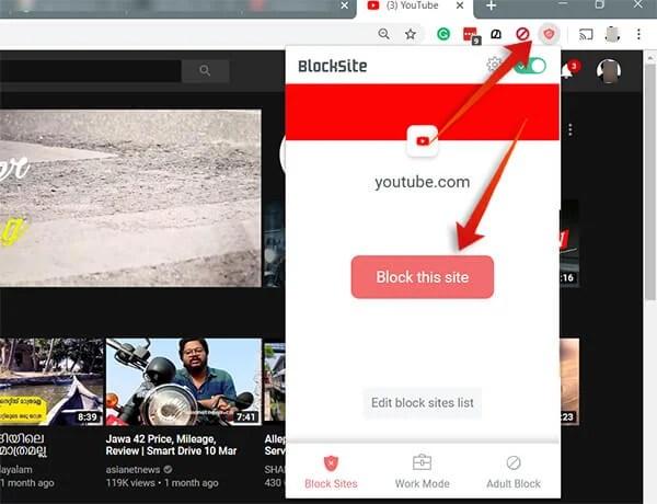 Block Youtube on Google Chrome using BlockSite