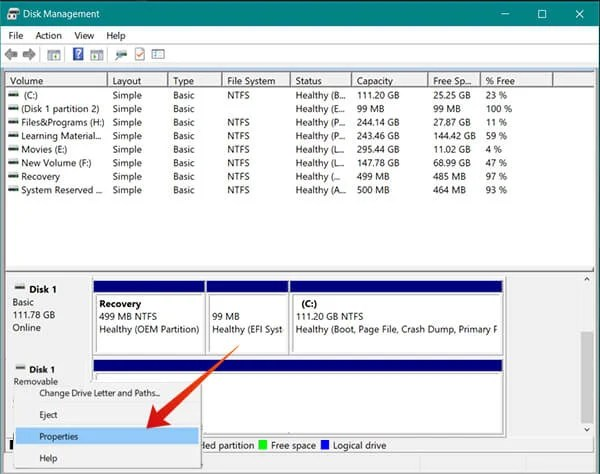 Choose Properties from Disk Management to enable Quick Removal Policy on Windows 10 for USB Drives