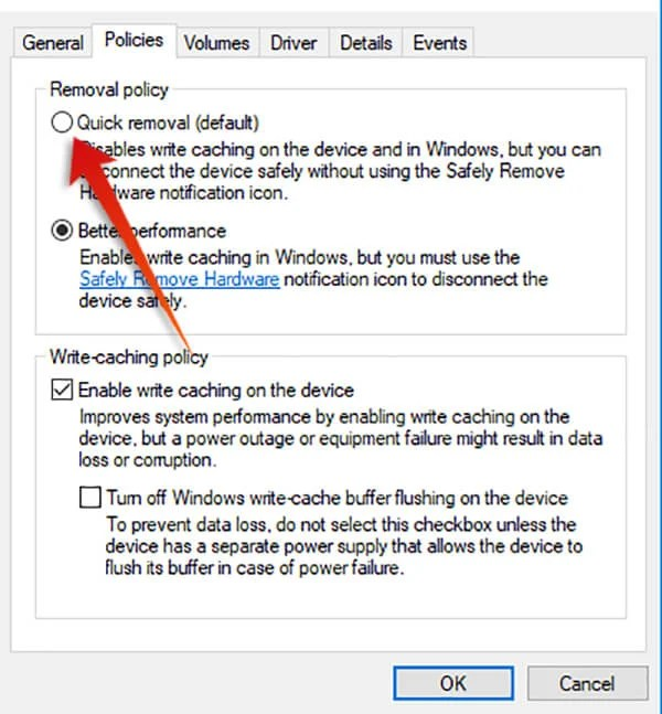 Choose Quick Removal for USB Drive on Windows 10