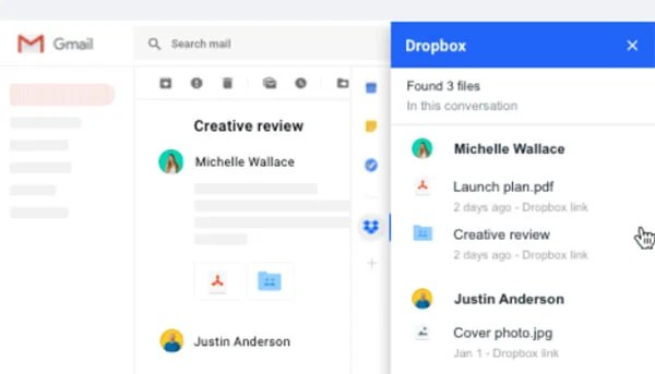 Dropbox on Gmail