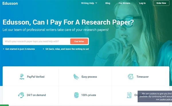 Edusson Research Paper Writing Service Homepage Interface