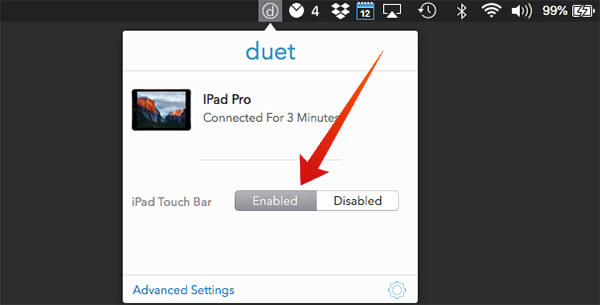 Enable iPad Touch Bar from Duet Display on Mac