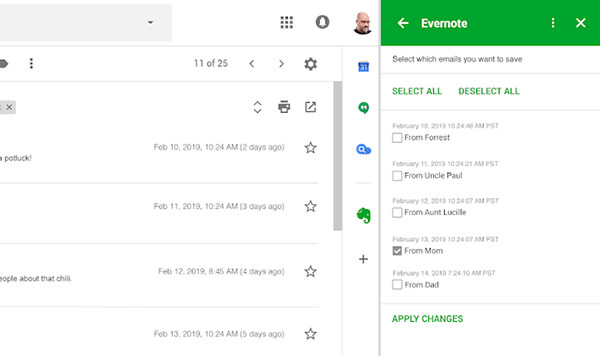 Evernote on Gmail