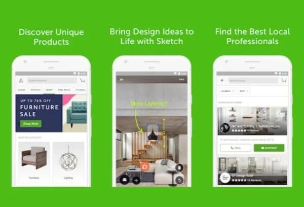 Features of Houzz application