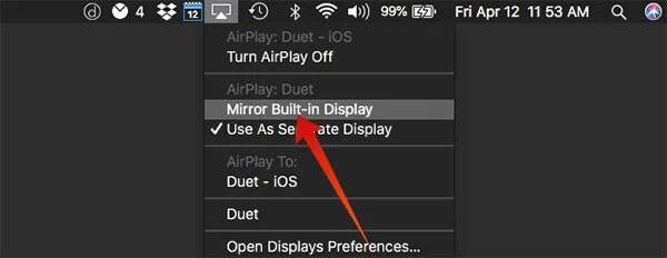 Mirror the Mac Built-in Display to iPad
