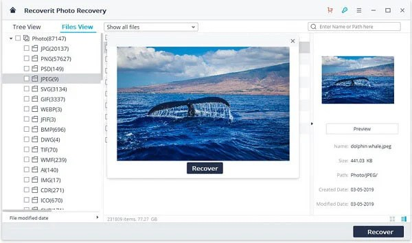 Recover Photos from USB Recoverit.