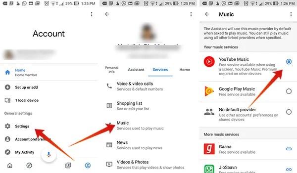 Set YouTube Music on Google Home as Default Music Provider