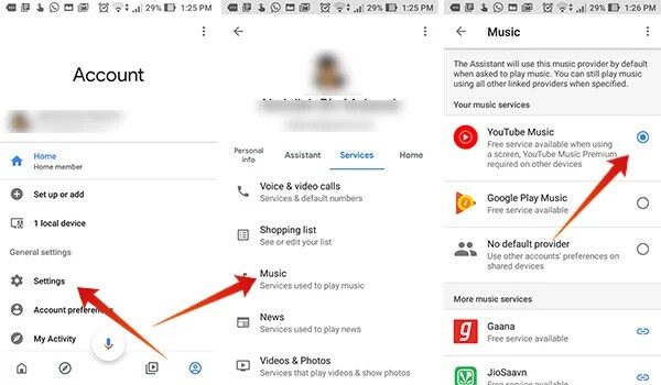 Set YouTube Music on Google Home as Default Music Provider