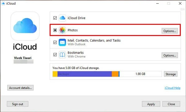 select photos on iCloud for Windows