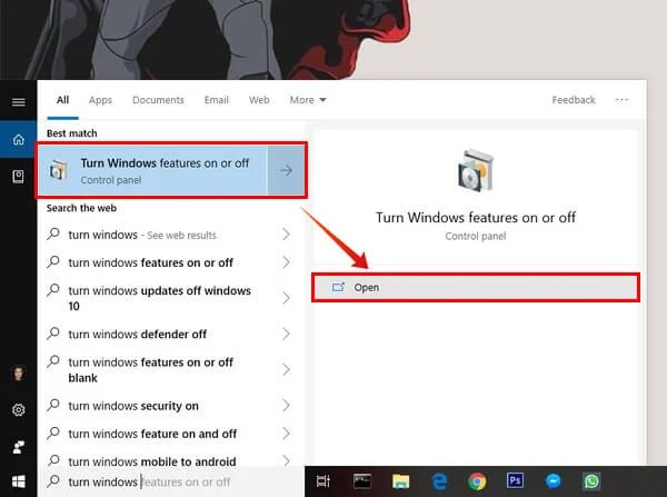 search for turn windows features on or off