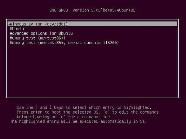 Ubuntu in dual boot alongside Windows 10
