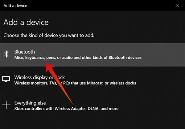 Choose Bluetooth Add Device