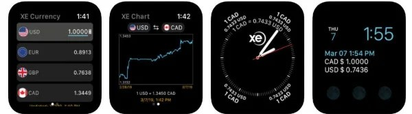 XE Currency app for Apple Watch