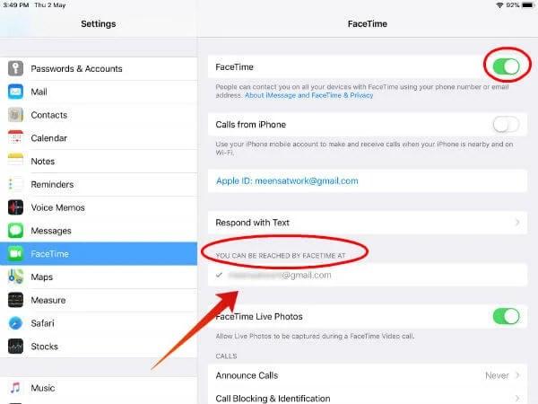 iPad Facetime settings