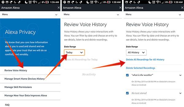 Delete Alexa Voice Recordings History All