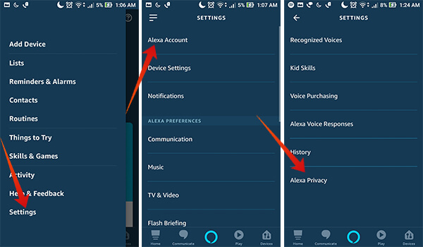 Enter Alexa Privacy Settings on Android
