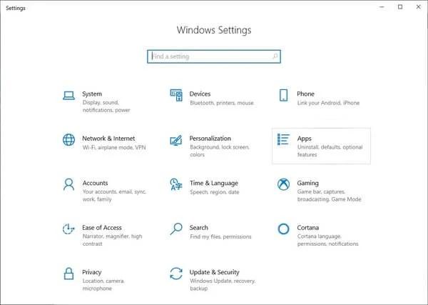 Apps Settings in Windows 10
