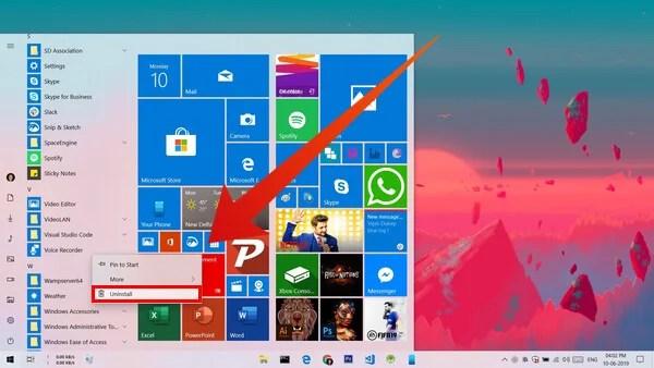 Uninstall Apps from Windows 10 Start Menu