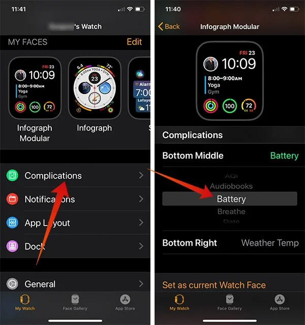 Add Battery Complication on Apple Watch Face from iPhone
