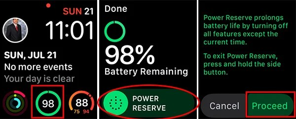 Enable Apple Watch Power Reserve from Battery Complication