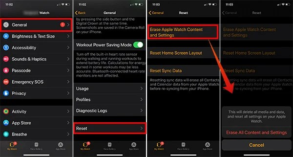 Reset Apple Watch using iPhone