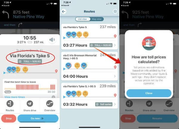 Get Toll Rate With Waze