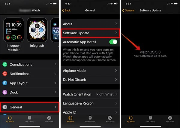 Check firmware version of Apple Watch from iPhone